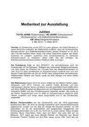 Medientext zur Ausstellung Jubiläen - Schweizerisches ...