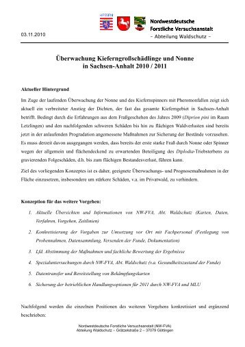 Überwachung Kieferngroßschädlinge und Nonne in Sachsen-Anhalt 2010 / 2011