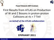 First Results from ATLAS on Production of W and Z Bosons in proton ...