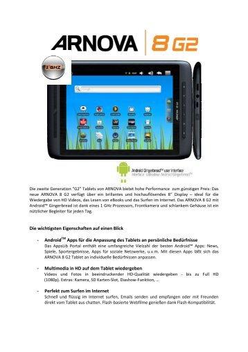 Die wichtigsten Eigenschaften auf einen Blick - AndroidTM Apps für ...
