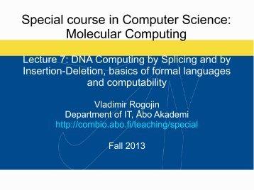 Special course in Computer Science Molecular Computing