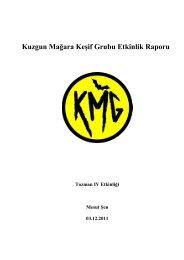 Kuzgun Mağara Keşif Grubu Etkinlik Raporu