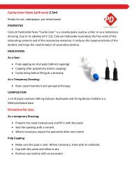 Cavity Liner Paste (self-cure) 2.5ml Directions for Use