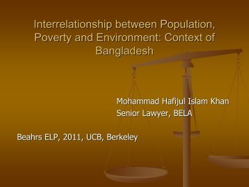 Poverty and Environment Context of Bangladesh