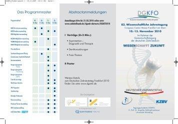 Flyer der Jahrestagung der DGKFO 2010
