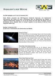 Die DAF-Highlights vom 16. bis 22. Dezember 2013 Diese Woche ...