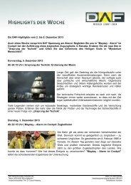 Die DAF-Highlights vom 2. bis 8. Dezember 2013 Auch diese ...
