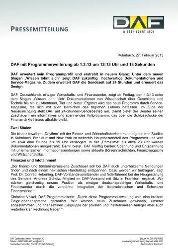 DAF mit Programmerweiterung ab 1.3.13 um 13:13 Uhr und 13 Sekunden
