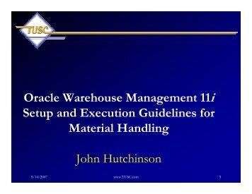Oracle Warehouse Management 11i Setup and Execution ...