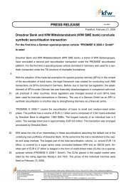 Dresdner Bank and KfW Mittelstandsbank conclude synthetic ...