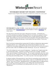 WINTERGREEN RESORT NOW WIELDING 'SNOWPOWER'