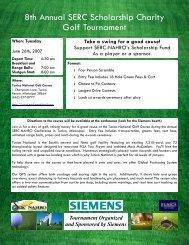 8th Annual SERC Scholarship Charity Golf Tournament
