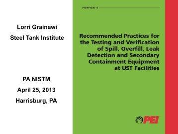 Steel Tank Institute PA NISTM April 25 2013 Harrisburg PA