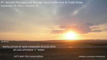 6 Annual Aboveground Storage Tank Conference & Trade Show
