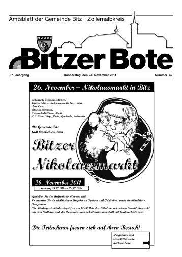 26. November – Nikolausmarkt in Bitz