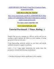 ASHFORD BUS 308 Week 5 Final Part II Analysis Pape/ Tutorialrank