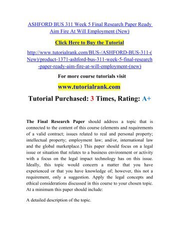 bus 311 week 5 research paper