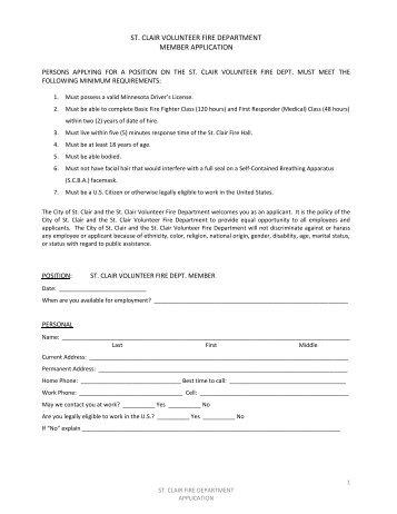 st-clair-volunteer-fire-department-member-application Volunteer Fire Department Application Forms on volunteer library application, volunteer fire company, fire department job application, volunteer fire recruit,