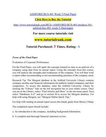 ASHFORD BUS 401 Week 5 Final Paper/ Tutorialrank