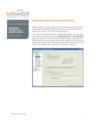 CONFIGURING TALKSWITCH FOR PROXIMITI SERVICE