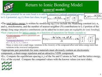 Return to Ionic Bonding Model
