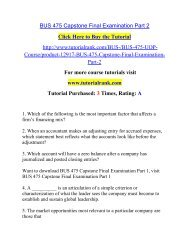 BUS 475 Capstone Final Examination Part 2/ Tutorialrank