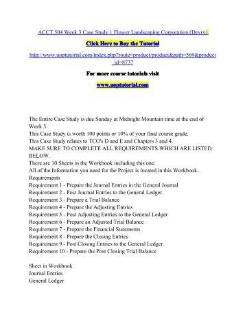 Acct 504 case study 3 essay