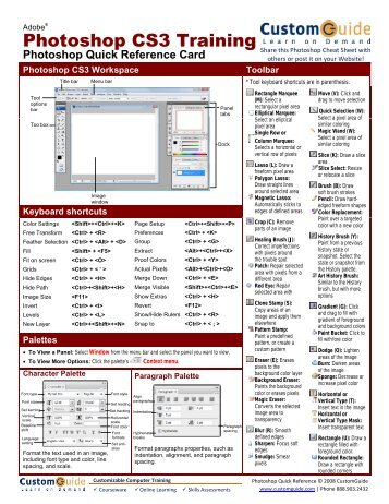 Photoshop Quick Reference, Adobe Photoshop CS3 Cheat Sheet