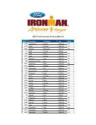 2011 Ford Ironman Arizona Bib List