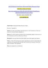 AED 200 Week 9 Final Project Educational Debate Persuasive Paper/uophelp