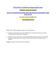 MGT 498 week 2 Individual Assignment Ethics Paper/Uoptutorial