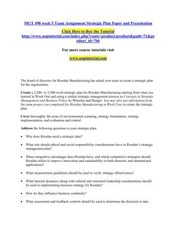 MGT 498 week 5 Team Assignment Strategic Plan Paper and Presentation/Uoptutorial