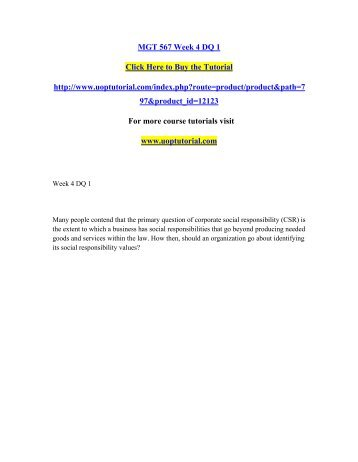 MGT 567 Week 4 DQ 1/Uoptutorial