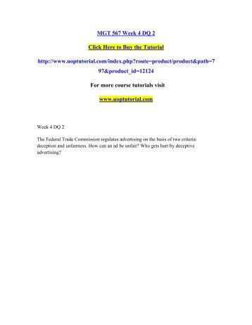 MGT 567 Week 4 DQ 2/Uoptutorial