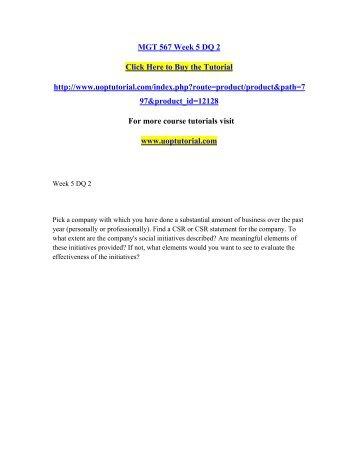 MGT 567 Week 5 DQ 2/Uoptutorial