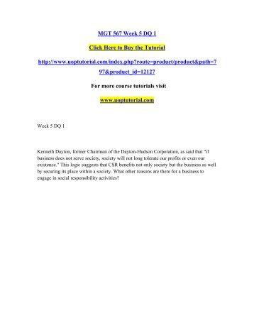 MGT 567 Week 5 DQ 1/Uoptutorial