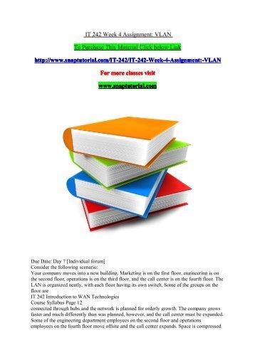 IT 242 Week 4 Assignment VLAN/snaptutorial