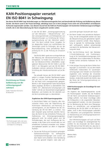KAN-Positionspapier versetzt EN ISO 8041 in Schwingung