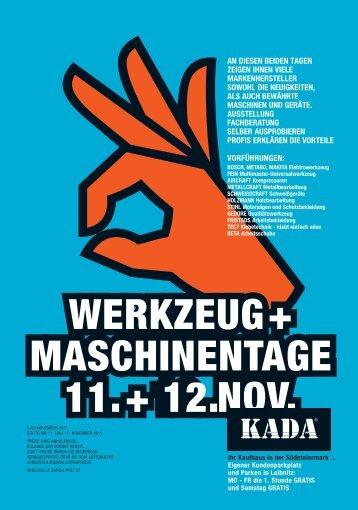 WERKZEUG + MASCHINENTAGE 11. + 12. NOV. - Kada