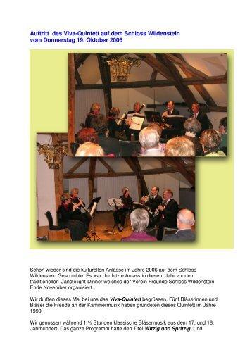 Auftritt des Viva-Quintett auf dem Schloss Wildenstein - Freunde ...