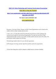 MKT 431 Niche Marketing and Customer Involvement Presentation/Uoptutorial