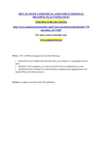 mkt 421 week 2 personal branding paper
