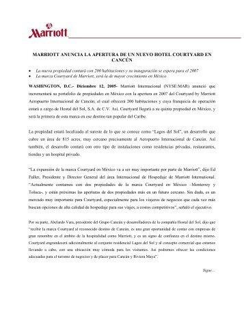 MARRIOTT ANUNCIA LA APERTURA DE UN NUEVO HOTEL COURTYARD EN CANCÚN
