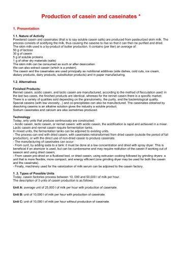 Production of casein and caseinates *