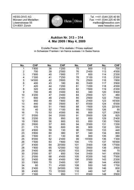 Auktion Nr. 313 – 314 4. Mai 2009 / May 4, 2009