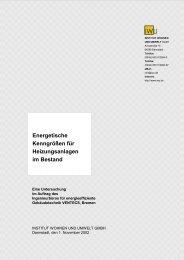 Energetische Kenngrößen für Heizungsanlagen im Bestand