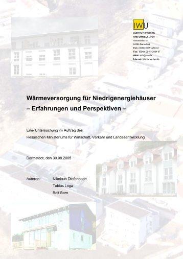 Wärmeversorgung für Niedrigenergiehäuser - Institut Wohnen und ...