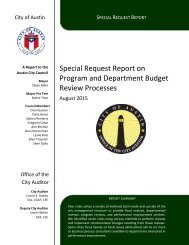 Special Request Report on Program and Department Budget Review Processes