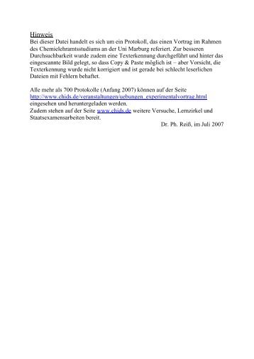Protokoll zu dem Experimentalvortrag: Fossile Brennstoffe - ChidS