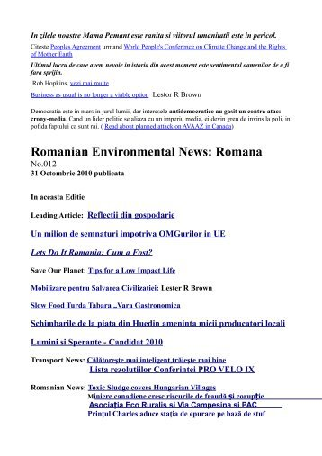 Romanian Environmental News Romana